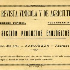 """Folleto informativo y comercial sobre productos enológicos. Separata de """"La revista vinícola y de agricultura""""."""