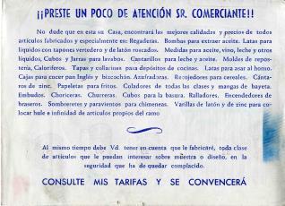 """Folleto publicitario de artículos de hojalata. """"La artística logroñesa"""". Logroño.1954"""