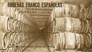 Tarjeta comercial. Bodegas Franco-Españolas. Logroño. La Rioja