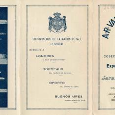 Listado de precios. Bodegas A.R. Valdespino y Hno. Jerez de la Frontera. 1926