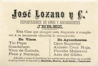 Tarjeta comercial. Exportadores de vinos y aguardientes José Lozano y Cía.