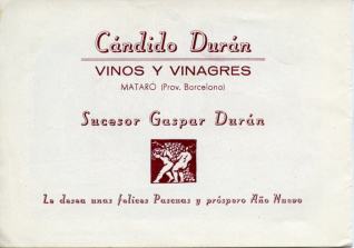 """Folleto publicitario. """"Vinos y vinagres Cándido Durán"""" (Mataró, Barcelona)"""