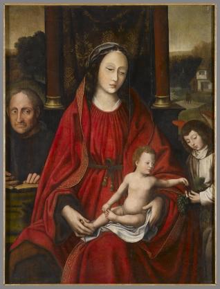 Virgen entronizada con Niño y ángel