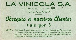 Tarjeta vale obsequio 5 pesetas. La vinícola, S.A. Igualada