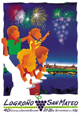 Cartel anunciador de la XL Fiesta de la Vendimia Riojana (Logroño)