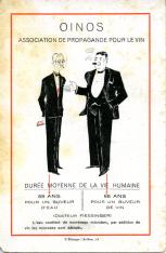 Tarjeta publicitaria. OINOS. Association de propagande pour le vin. Barcelona