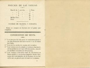 Listado de precios. Bodega Juan Juez. Jerez de la Frontera. 1905