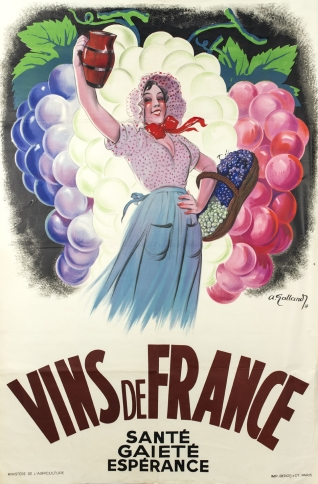 Cartel promocional de los vinos de Francia