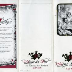 """Folleto informativo sobre el Club """"Mester del Vino"""" de Haro, La Rioja. 1983"""