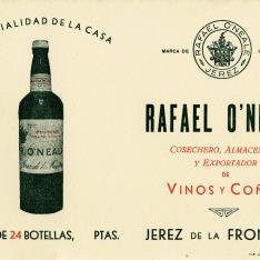 Tarjeta comercial. Rafael O'Neale. Jerez de la Frontera