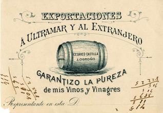 Listado de precios de vinos Cesáreo Castilla. Logroño