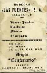 Almanaque para 1942. Bodegas Las Fuentes, S.A. Calatayud