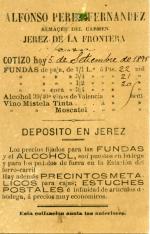 Listado de precios de alcoholes y vinos. Almacén Alfonso Pérez Fernández