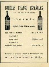Publicidad de Bodegas Franco Españolas, S.A. (Logroño - La Rioja). [ca. 1939]