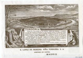 Folleto publicitario. Viña Tondonia. Bodegas R. López de Heredia. Haro. La Rioja
