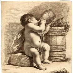 Baco niño bebiendo vino
