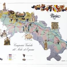 Cartel/mapa del territorio de la Denominación de origen Rioja (Tipos de Terrenos)