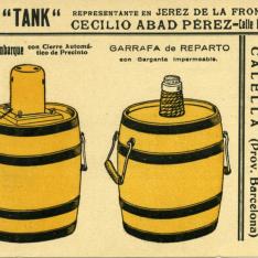 """Tarjeta comercial. Garrafa """"Tank"""", garrafa de embarque, garrafa de reparto"""