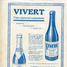 Anuncio publicitario del vino Vivert, vino natural espumoso. 1927