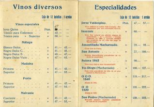 Listado de precios. A. R. Valdespino y Hno. (Representante Cataluña Daniel Robert). [ca. 1928]