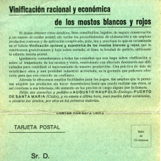 """Tarjeta de pedido del folleto """"Vinificación racional y económica de los mostos blancos y rojos"""". Puerto de Santa María. Cádiz"""