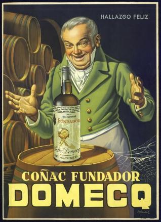 Cartel publicitario de la marca Domecq (Coñac Fundador)