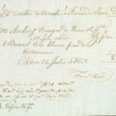 Cuentas - 1828, julio, 26. Cádiz