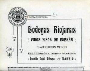 "Publicidad impresa de ""Bodegas Riojanas"". 1911"