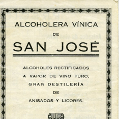 Listado de precios. Alcoholera vinícola de San José. La Almunia (Zaragoza)
