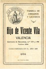 """Listado de precios. Fábrica de anisados y licores """"Hijo de Vicente Vila"""". Valencia. 1934"""