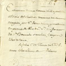 Ventas - 1736, enero, 2. Aracena (Huesca)