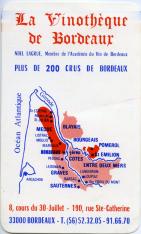 Tarjeta comercial. La vinothèque de Bordeaux