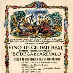 Tarjeta comercial. Vino de Ciudad Real. Bodega de Arévalo. 1934